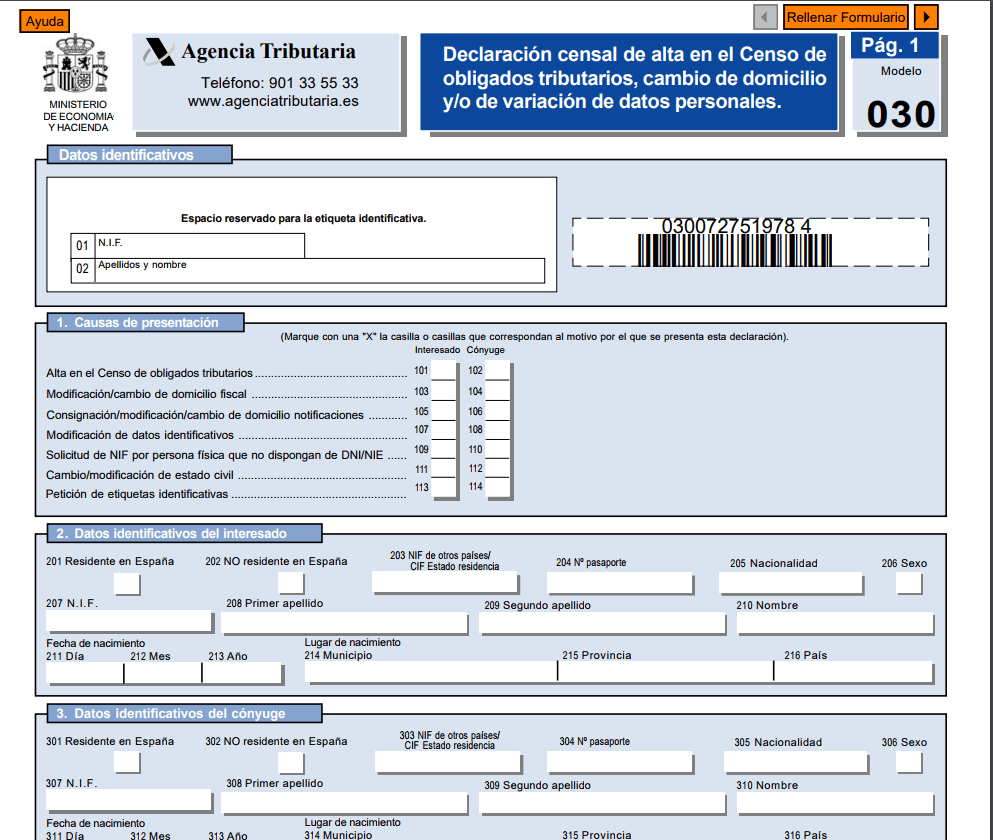 modelo 030 formulario