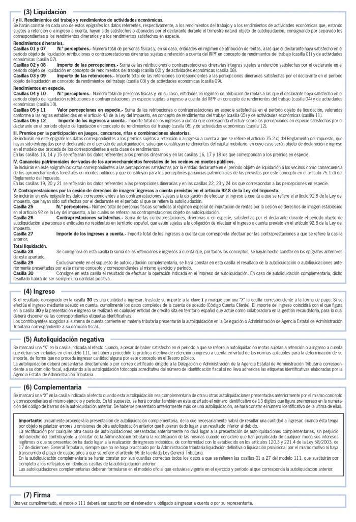 modelo 111 instrucciones cumplimentación