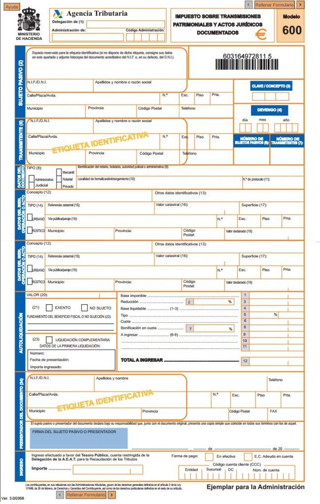 modelo 600 formulario