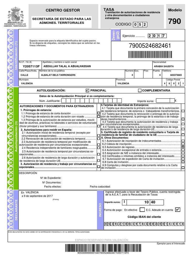 modelo 790 código 052 formulario