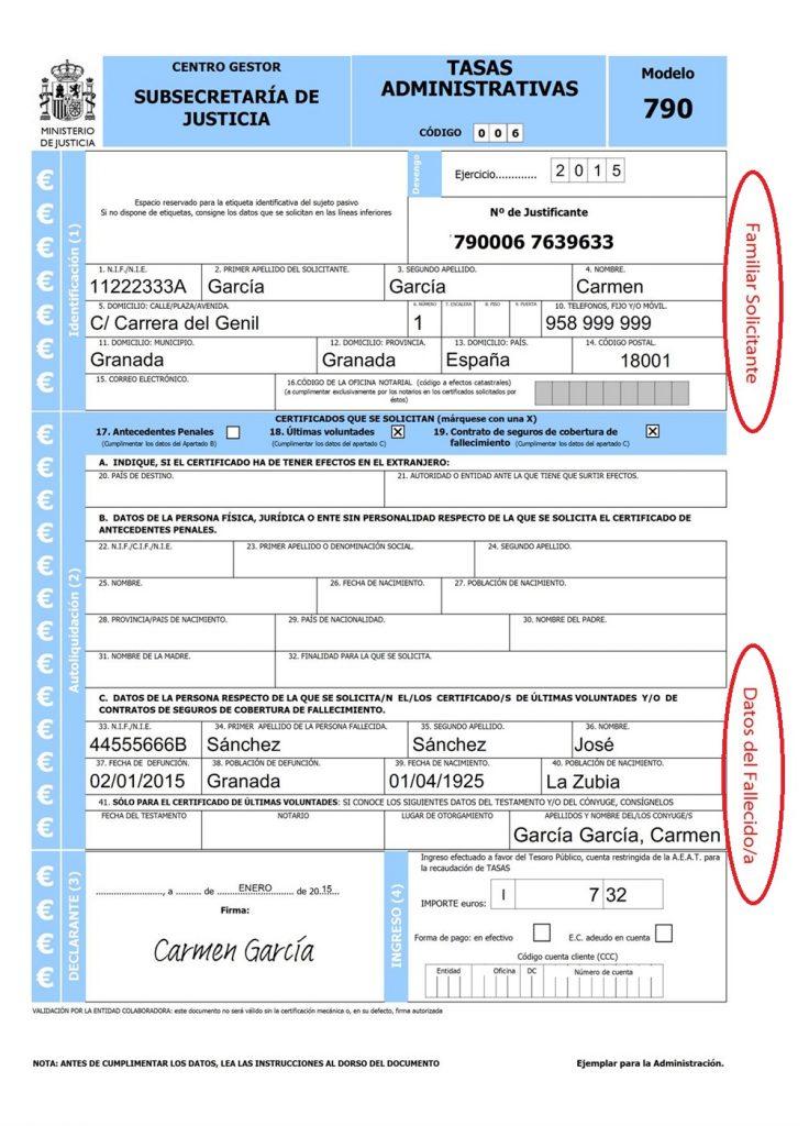 modelo 790 últimas voluntades formulario rellenado ejemplo