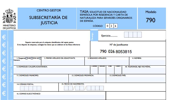 modelo 790 subsecretaría